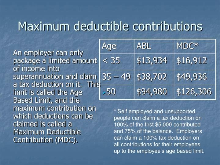 Maximum deductible contributions
