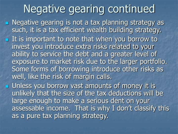 Negative gearing continued