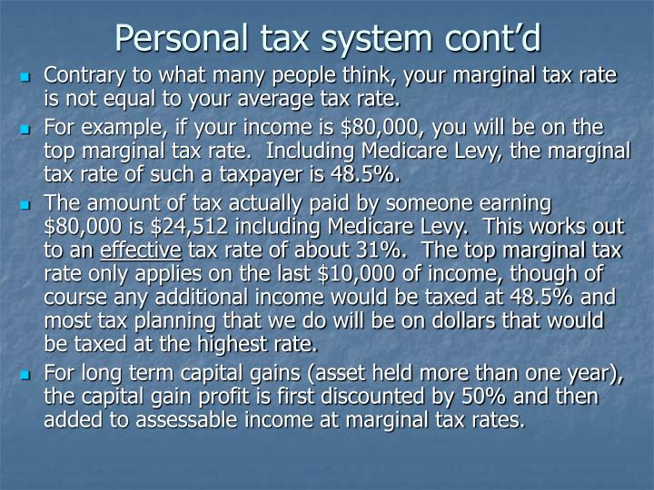 Personal tax system cont'd