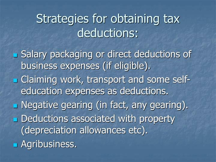 Strategies for obtaining tax deductions:
