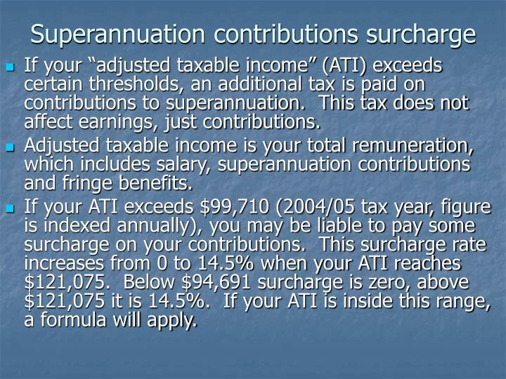 Superannuation contributions surcharge