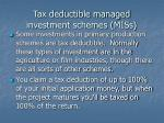 tax deductible managed investment schemes miss