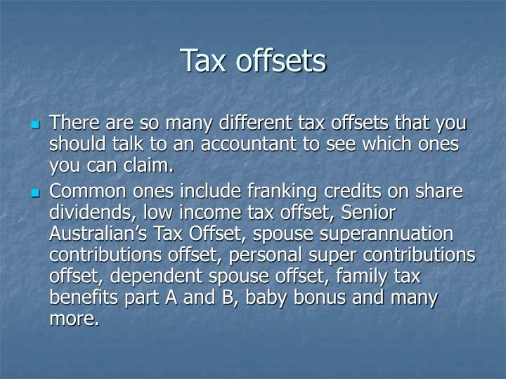 Tax offsets