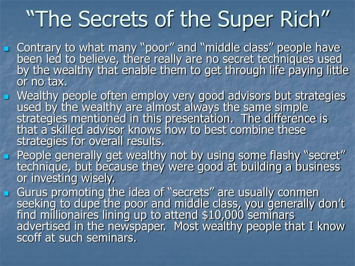 """The Secrets of the Super Rich"""
