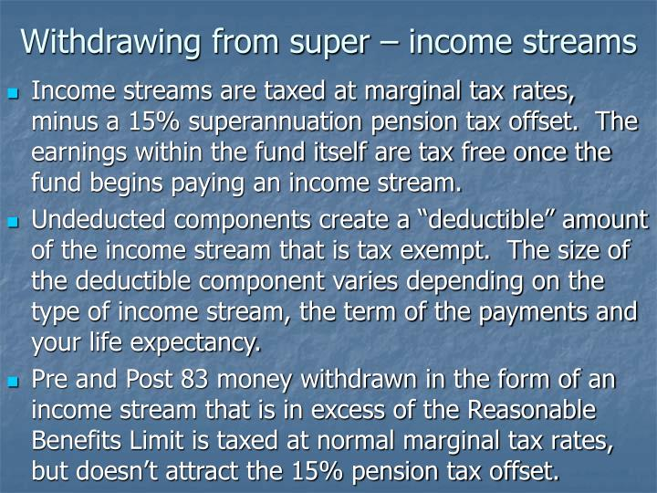 Withdrawing from super – income streams