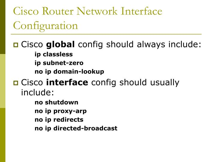 Cisco Router Network Interface Configuration