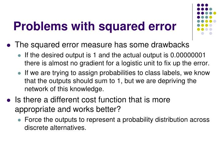 Problems with squared error