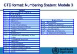 ctd format numbering system module 3