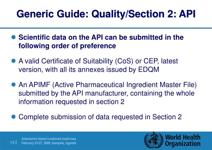 Generic Guide: Quality/Section 2: API