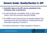 generic guide quality section 2 api