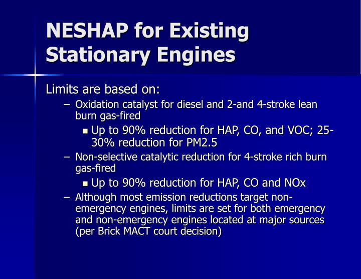 NESHAP for Existing Stationary Engines