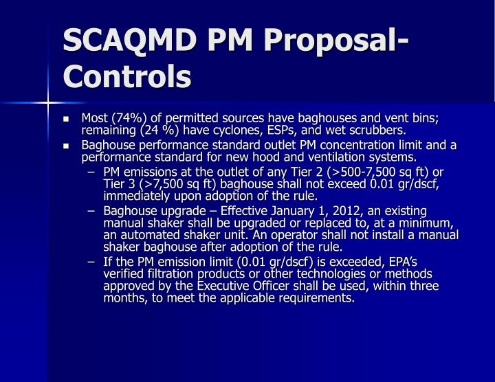 SCAQMD PM Proposal-Controls