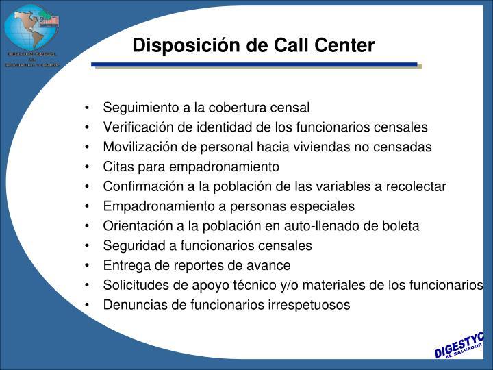 Disposición de Call Center