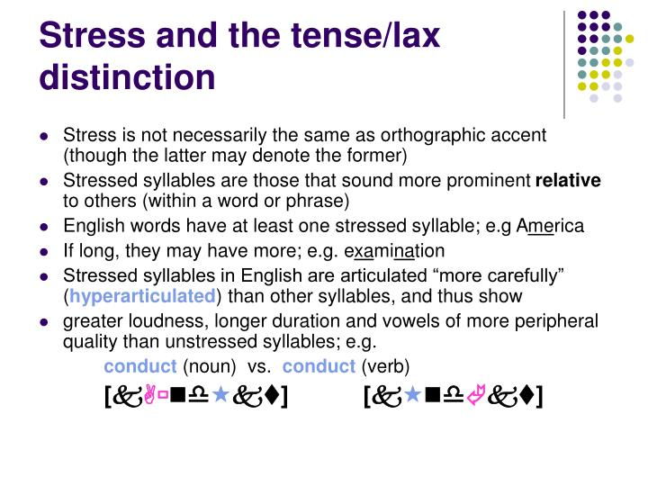 Stress and the tense/lax distinction