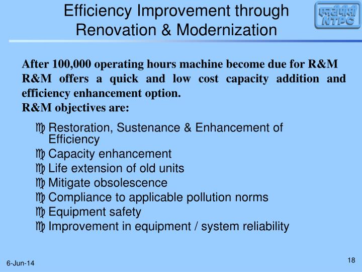 Efficiency Improvement through Renovation & Modernization