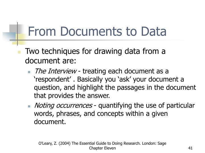 From Documents to Data