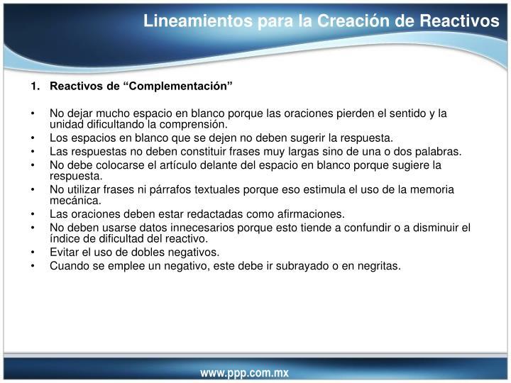 Lineamientos para la Creación de Reactivos