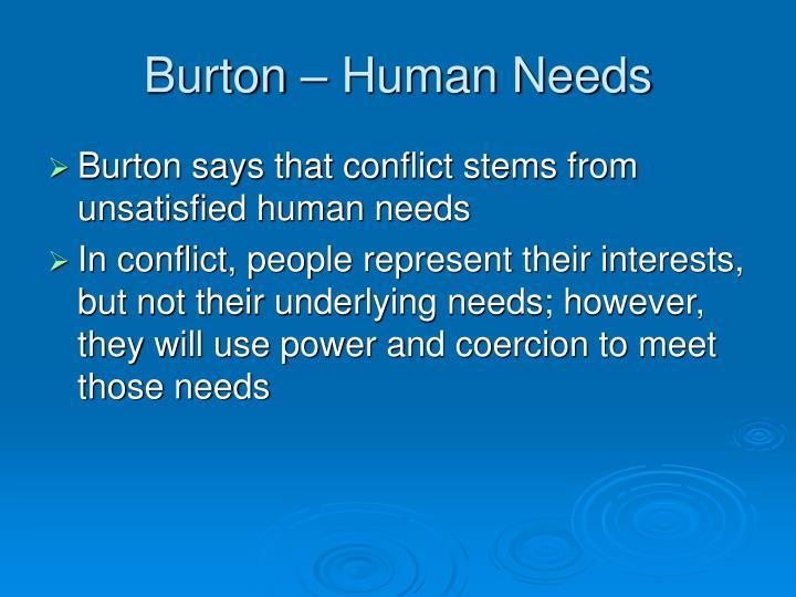 Burton – Human Needs
