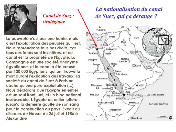 La nationalisation du canal de Suez, qui ça dérange ?