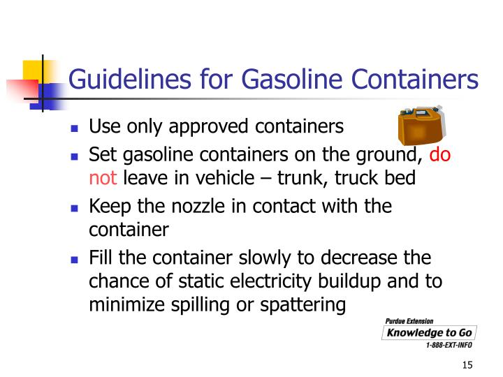 Guidelines for Gasoline Containers