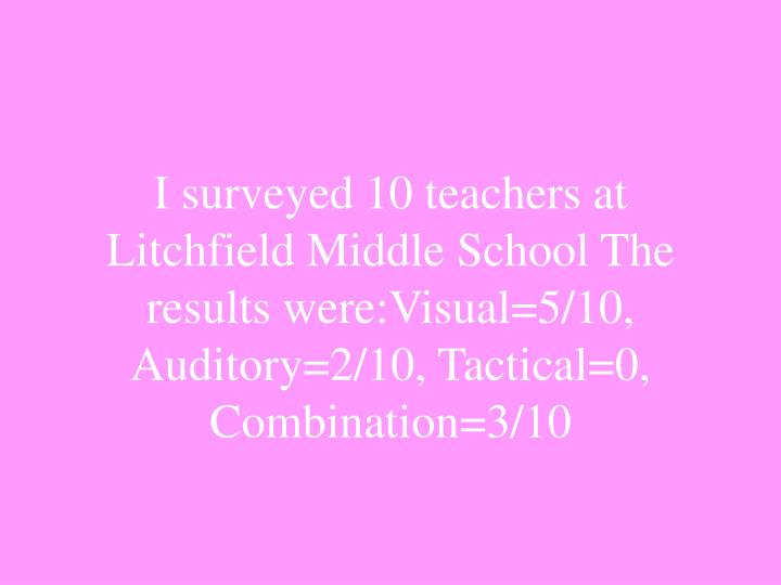 I surveyed 10 teachers at Litchfield Middle School The results were:Visual=5/10, Auditory=2/10, Tactical=0, Combination=3/10