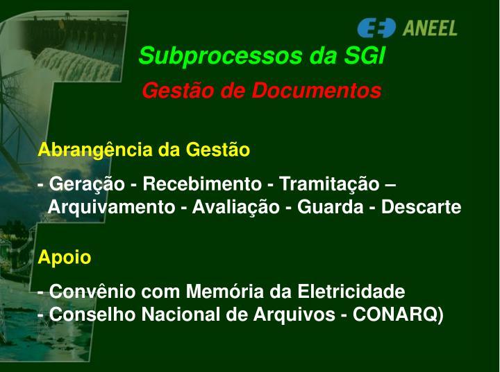 Subprocessos da SGI