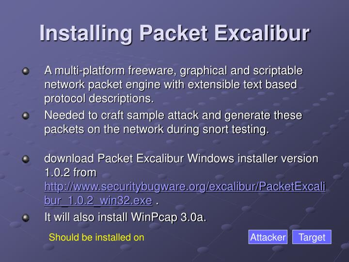 Installing Packet Excalibur