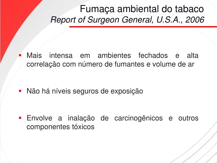 Fuma a ambiental do tabaco report of surgeon general u s a 2006