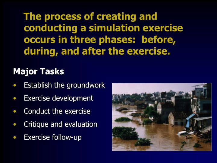 The process of creating and conducting a simulation exercise occurs in three phases:  before, during, and after the exercise.