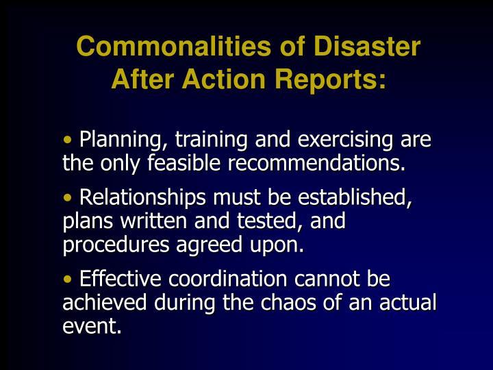 Commonalities of Disaster