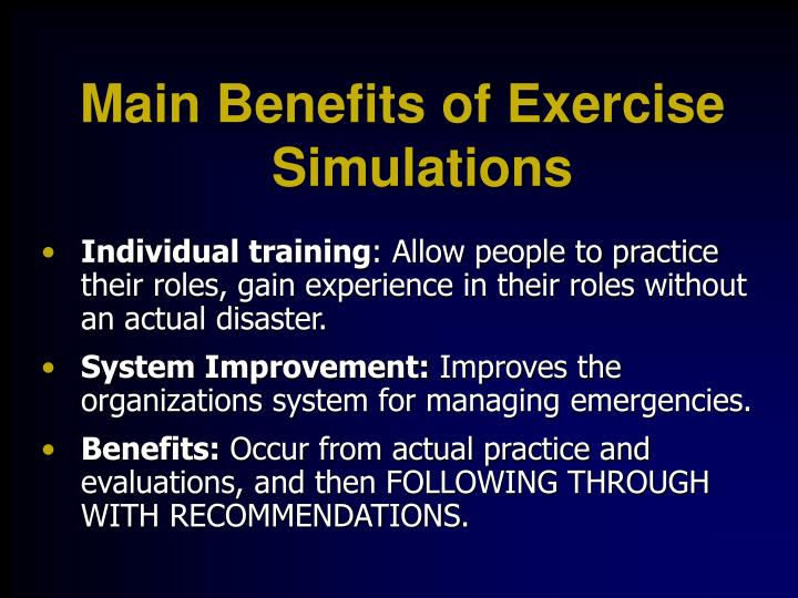 Main Benefits of Exercise Simulations