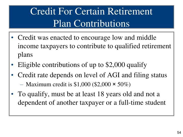Credit For Certain Retirement