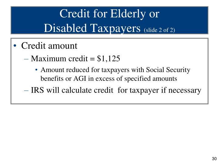 Credit for Elderly or