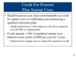 credit for pension plan startup costs