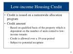 low income housing credit