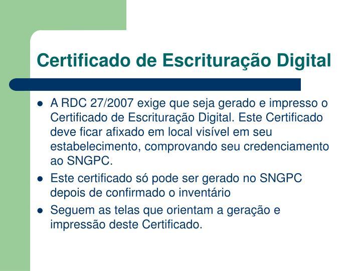 Certificado de Escrituração Digital