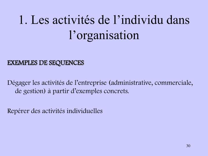 1. Les activités de l'individu dans l'organisation