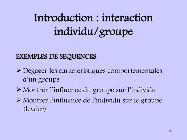 Introduction : interaction individu/groupe