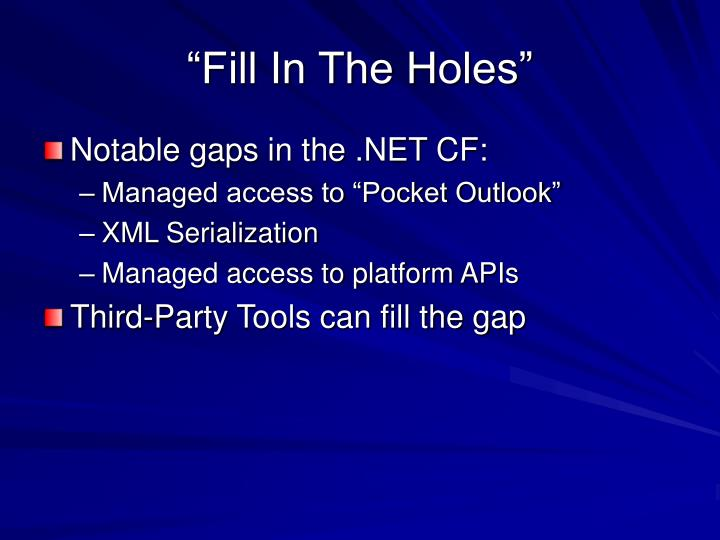 """""""Fill In The Holes"""""""