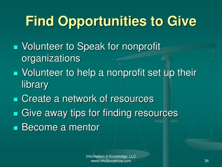Find Opportunities to Give