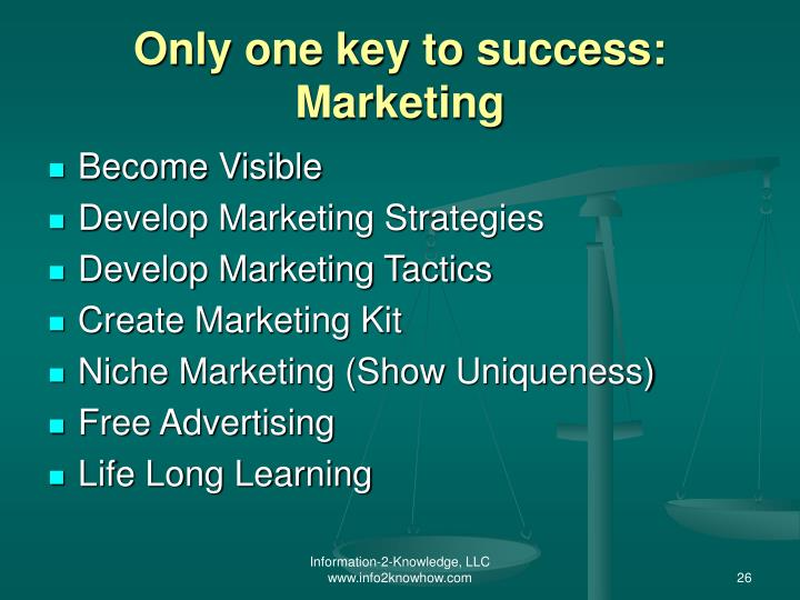 Only one key to success: Marketing
