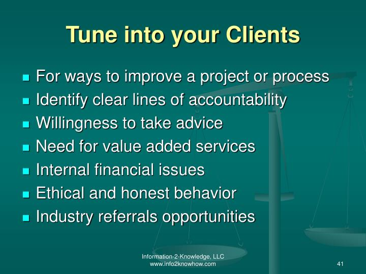 Tune into your Clients