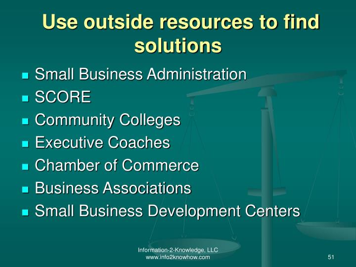 Use outside resources to find solutions