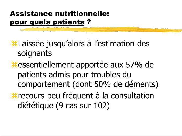 Assistance nutritionnelle: