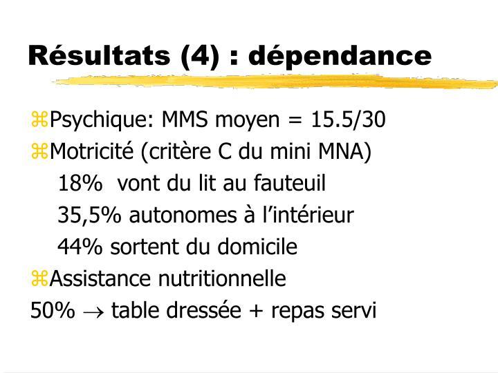Résultats (4) : dépendance