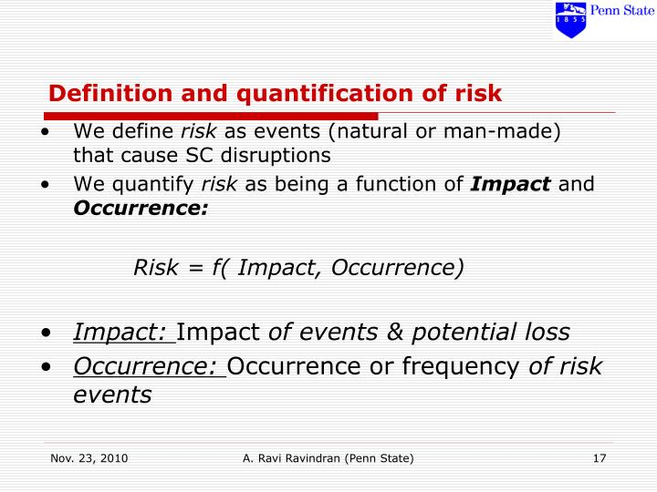 Definition and quantification of risk