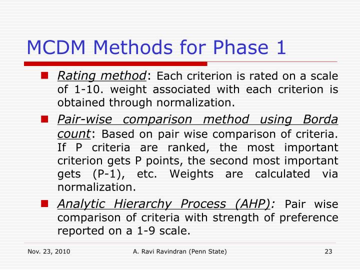 MCDM Methods for Phase 1