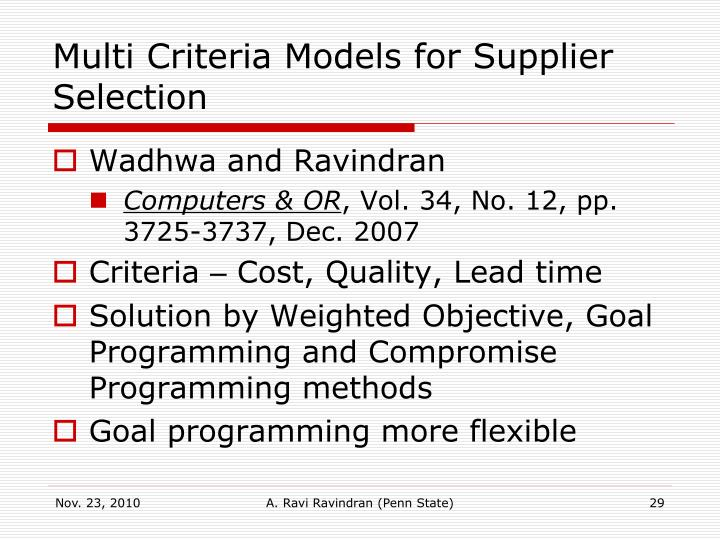 Multi Criteria Models for Supplier Selection
