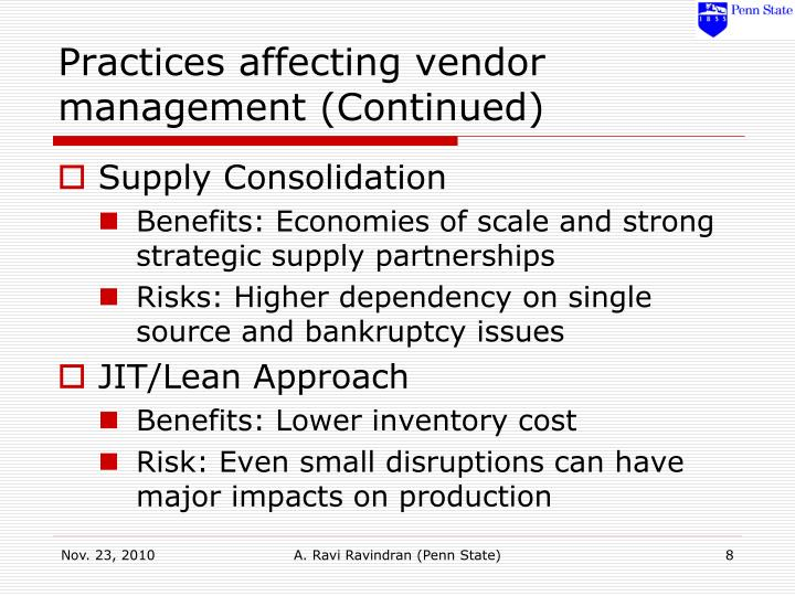 Practices affecting vendor management (Continued)