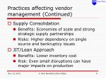 practices affecting vendor management continued
